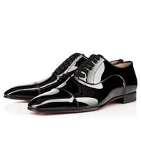 vestido zapatos negocio oxford al por mayor-Gentleman Party / Vestido / Hombre de negocios Red Bottom Oxford Hombre Lace Up Greggo Flat Hombre de lujo Chaussure Homme Loafers Zapatos Walking 35-46