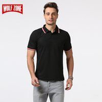 Wholesale polo blue for sale - Group buy Wolf Zone Brand Polo Shirt Men Cotton Fashion Summer Breathable Solid Short Sleeve Business Casual Shirts