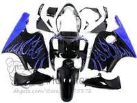 Wholesale zx12r blue for sale - Free gifts fairings body For KAWASAKI NINJA ZX12R ZX R fairing kits blue flaame black ZX R free custom bodywork