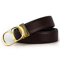 ingrosso cinture in pelle solida-Nuovo Designer Business Leisure Cintura in vera pelle CD Mens Smooth Buckle Luxury Solid Leather Cintura in pelle per uomo