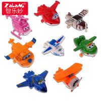 ingrosso ali d'aereo-8pcs / set mini aeroplano anime super ali giocattolo modello trasformazione robot action figure superwings giocattoli per bambini bambini
