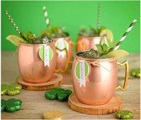 cerveza rosa al por mayor-Taza de cobre 2018 Taza de cerveza de acero inoxidable Taza de mule de Moscú Rose Gold Hammered Copper plateado Drinkware