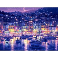 Wholesale Canvas Pier - Fashionable Oil Paintings by Numbers Pier Night Art For Home Hotel Digital Hand-Painted Drawing On Canvas 2018 Free Shipping