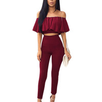 Wholesale ladies trouser short sets resale online - Summer Two Piece Set Women Ruffles Crop Top Long Pants Suits Tracksuit Sexy Ladies Off Shoulder Blouse Trousers Piece Set