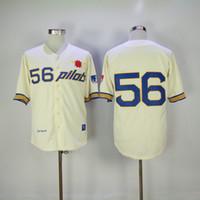 Wholesale 1969 baseball - Throwback 1969 Seattle Pilots Jim Bouton Baseball Jersey Retro Cream 56 Jim Bouton Shirts Vintage Cheap Stitched Jerseys