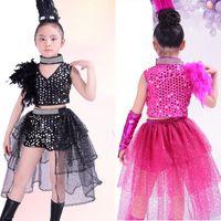 balo salonu dans giysisi latin toptan satış-Kızlar Balo Salonu Payetli Dans Üstleri + elbise Çocuklar Latin Caz Hip Hop Modern Giyim Seti Çocuk Dans Kostüm Kıyafetler ile Eldiven