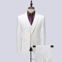 ingrosso sposo tuxedo argento bianco nero-2018 Abito da uomo Bianco Nero Blu Navy Abiti da sposa Business Custom Made Groom Tuxedo Blazer formale Slim Fit 3 Pezzi Prom Sposo Best Man
