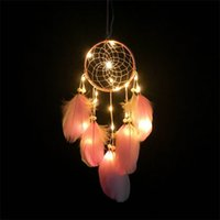Wholesale Feather Pendant Lamp - Wind Bell Lamp LED Light Feather Pendant Lights Dream Dreamcatcher Colour Originality Home Decor Novelty Gift Popular 15 48xr V