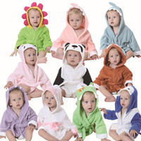 Wholesale towels velour for sale - Group buy Cute kids Animal Bathrobe Towel Boys Girls Thick Cotton Flannel Nightgowns Hooded Night Robe Warm Towel