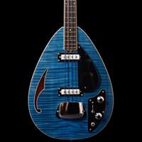 chromlochabdeckungen großhandel-Seltene 4 Saiten Trans Blue Flame Ahorn Top Tear Drop Vox Plantom E-Bass Semi Hollow Body, einzelnes F-Loch, verchromte Saitenhalterabdeckung