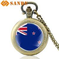 bronz cep saatleri toptan satış-Moda Yeni Zelanda Fag Kuvars Pocket Watch Vintage Erkekler Kadınlar Bronz Kolye Kolye Saat Hediye