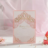 gold rosa hochzeitseinladungen großhandel-Royal Pink Laser Cut Hochzeitseinladungskarten mit Gold geprägt hohlen Flora Design für Bridal Shower frei angepasst CW6072 20180509 #