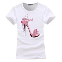süße high heels großhandel-Frauen-Absatz-Schuhe druckten T-Shirts Art- und Weiseniedliche T-Stücke weibliche Sommer-Kurzschluss-Sleeved Oansatz Oberseiten