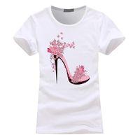 ingrosso moda scarpe donna carina-Scarpe da donna con tacco alto Magliette stampate Moda carina T-shirt estiva estiva da donna a maniche corte