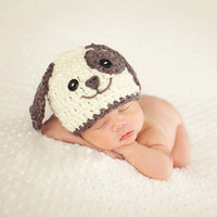 Wholesale Newborn Crochet Hat White - Newborn Photography Props Baby Khawaii Dog Hat Caps Costume White Blue Adjustable Knitted Beanies Infant Photography Accessories Baby Gift