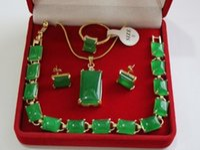 anillo de compromiso de 18kgp al por mayor-venta al por mayor hermosa piedra natural verde 18KGP, anillo (# 7.8.9), conjunto de joyería pendiente pendiente del perno prisionero