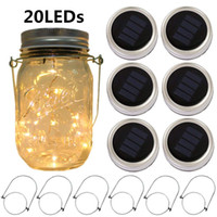 Wholesale patio decor - Solar Mason Jar Lid Lights 20 Led String Fairy Star Firefly Jar Lids Lights with Hangers for Mason Jar Patio Garden Decor Solar Laterns Lamp