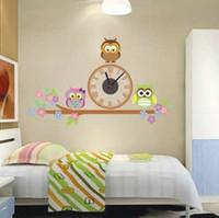 baykuş yatak odası çıkartmaları toptan satış-Moda baykuş sticker ev dekor elektronik diy duvar saatleri izle oturma odası çocuk aşk yatak odası dekorasyon bulmaca sticker