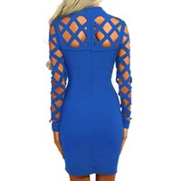 ingrosso abito di fasciatura più le donne di formato-Esplosione Bandage Dress 2018 Nuove donne a maniche lunghe Hollow Out Dress Nightclub Party Dress Abiti sexy Plus Size GV504