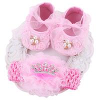 ingrosso scarpe da prua dentellare-Pink Ballerina Kids Booties Shoes Set di fasce per bambina, Soft Soled Vintage Culla Girls First Walker, Meninos di Sapatinhos