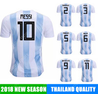 Wholesale nations red - 2018 Argentina Soccer Jersey MESSI cup AGUERO DI MARIA MASCHERANO HIGUAIN calcio fútbol football NATION TEAM national world russia