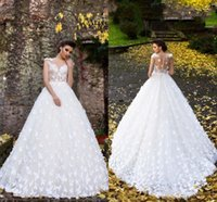 Wholesale fit flare bridal dresses for sale - Group buy 2019 White Butterflies Hand Made Flowers Flare Fitted Bridal Wedding Dresses New Sheer Neck Cap Sleeves Appliques Long Bridal Gowns