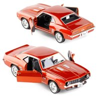 Wholesale Toy Classic Car Collection - 1:36 diecast metal car model toys,high simulation bright Chevrolet,Comaero classic car 2 open the door children\'s gifts,collection model