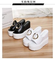 Wholesale womens white wedges - British Style Womens Classic High Heels Platforms Pumps Open Toe Wedges Slippers Sandals Pearl Beach Shoes Nightclub Shoes