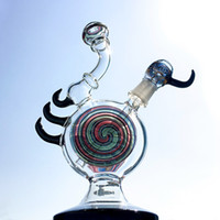 Wholesale Oil Cool - Unique Bong Heady Glass Oil Rigs 9.5 Inch Wigwag Pattern Water Pipes Cool Spiral Bongs Colored Mini Dab Rig Smoking Pipe HD04