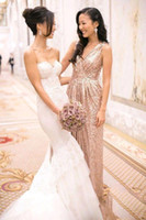 Wholesale rose gold dresses for sale - Group buy 2018 Rose Gold Sequined Long Bridesmaid Dresses Sexy V neck Pleated Backless Formal Dress Party Wedding Guest Evening Gowns CPS432