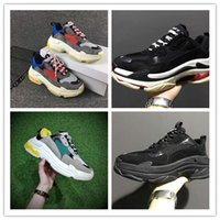 Wholesale Women High Heels Sneakers - 2017New Unveils New Triple S Running Shoe Man Woman Sneaker High Quality Mixed Colors Thick Heel Grandpa Trainer Shoes size35-45