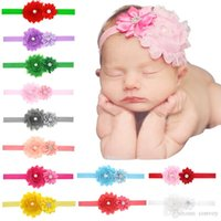 Wholesale fabric sunflowers - Baby Headbands Sunflowers Infants Kids Elastic Head Bands Shabby Satin Fabric Hairbands Girls Rhinestone hair accessories for Baby KHA149