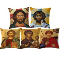 Wholesale blue green decorative pillows - Orthodox Christian Icon Cushion Cover Christ Pantocrator Catholicism Cushion Covers Sofa Throw Decorative Linen Cotton Pillow Case