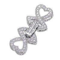 multi-strang silber perlenkette großhandel-Großhandel Mode Silber Strass Herz Haken Haken passt handgemachte DIY Multi-Strang Perlen Halskette Armband machen Steckverbinder Zubehör