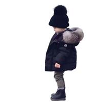 kızlar için siyah ceketler toptan satış-Bebek Erkek Kız Ceket Kış Kalınlaşmış Dış Giyim Bebek Ceketler Çocuklar Parka Bebek Kışlık Mont Çocuklar Ceketler Trendy Siyah Coats