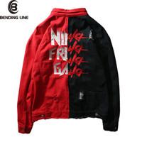 xxl denim ceketler toptan satış-Erkek Hip Hop Kot Ceket Ceket erkek Aşınma Çizgisiz Denim Ceket Trucker Sağlam Aşınma Çizgisiz Denim Asya boyutu M-XXL