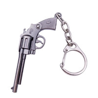 Wholesale 15 Styles Cute Toy Guns Keychain Metal Model Revolver Desert Eagle Car Keyring Fashion Men Key Chains With Gift Box