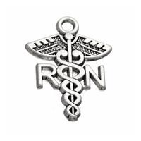 ligas médicas venda por atacado-Hot Alloy Medical Sign RN Enfermeira Registrada Encantos Católica Jóias Achados AAC191