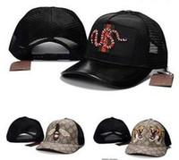 Wholesale snake hats resale online - Fashion Bee Tiger Baseball Cap Snake bone Men Women Brand Designer Sport G Truck Mesh Hats Caps Hip Hop Snapback Cool Pattern New Casual Hat