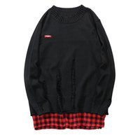 Wholesale Harajuku Patchwork Destroyed Knitted Ripped Pullover Sweaters Hip Hop Casual Distressed Knitwear Jumper Sweater