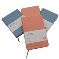 blaues notebook mini großhandel-New Cute Pink Sky Blue Notebook A6 Papier Notizblock Crayon Malerei Muster Tasche Notizblock Einfarbig Wöchentliche Platz Mini Notebook