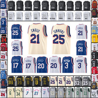 Wholesale M Logos - 2018 New Men's 21 Joel Embiid Jersey 25 Ben Simmons 17 J.J. Redick 20 Embroidery Logos Jerseys