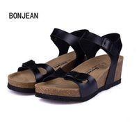 Wholesale White Gladiators - New Fashion Women Sandals Cork Shoes Beach Shoes Gladiator Wedges Summer High Heels Zapatos Mujer Sandalias Plus Size 35-40