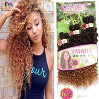 6'lı saç uzatma toptan satış-Ücretsiz kargo 6 adet / paket sentetik saç uzatma 1 paket için tam kafa ombre renk 14 16 18 inç sentetik saç demetleri yumuşak saç demetleri