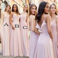 Wholesale Paige Dress - Blush Pink A Line Chiffon Long Bridesmaid Dresses Cheap 2018 Hayley Paige Spaghetti Straps Sleeveless Bridesmaids Wedding Guest Dresses