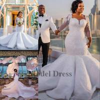 vestido de encaje blanco nigeria al por mayor-Sirena vestidos de novia con 3/4 mangas largas drapeado apliques de lentejuelas abalorios escote cuadrado de lujo vestidos de novia blancos Nigeria