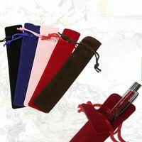 ingrosso caso di trasporto della penna-Portapenne portatile Durevole Facile da trasportare Matite Case Double Sided Flanella con coulisse Borse a matita Pratica 0 55bh B
