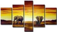 painéis de pintura de paisagem africana venda por atacado-5 painel pintura a óleo handmade elefante africano pintura paisagem óleo de lona pendurado arte da parede sala de estar decoração