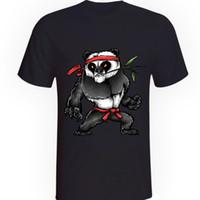 kung fu blanco negro al por mayor-Nuevo Mens Karate Panda Camiseta Kung Fu Bear Fighting Blanco o Negro 100% algodón a estrenar Camisetas