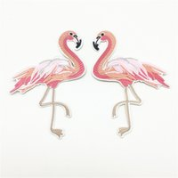 Wholesale bird appliques - 4Pairs(8pcs)9.8x15cm Flamingo Patches Birds Embroidered Iron on Badge Clothing Applique Sewing DIY Accessory Embellishments